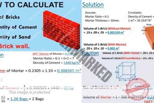 Calculation of Brick Work Quantity: Quantity of Bricks,Quantity of Cement, Quantity of Sand.